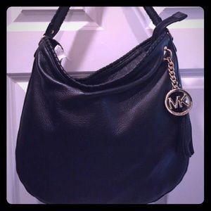 MK hobo black leather bag